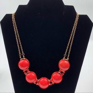 Charming Charlie Coral Cabochon Bib Necklace
